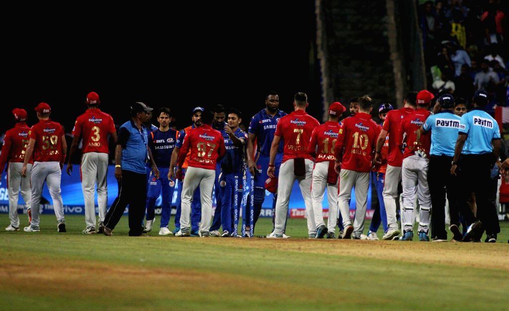 Mumbai: Mumbai Indians celebrate after winning the 24th match of IPL 2019 against Kings XI Punjab at Wankhede Stadium in Mumbai on April 10, 2019. (Photo: IANS)