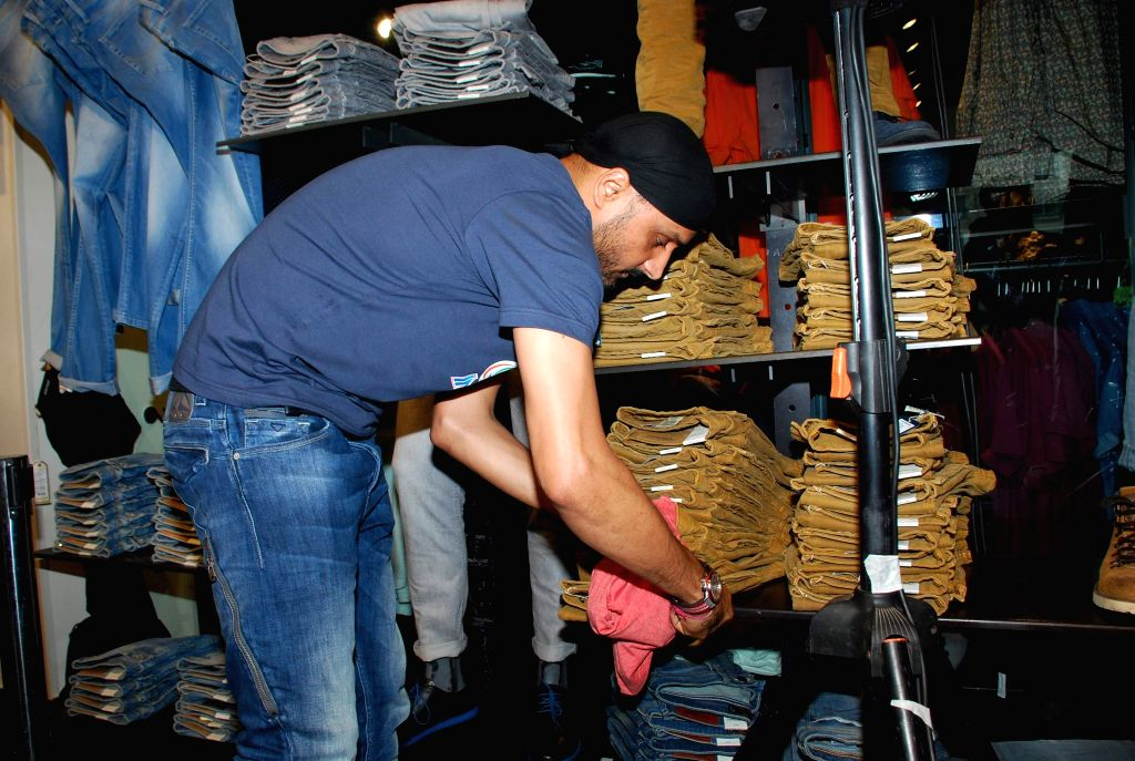 Mumbai Indians cricket player Harbhajan Singh at Jack and Jones store during his visit in Mumbai on, April 29, 2015. - Harbhajan Singh