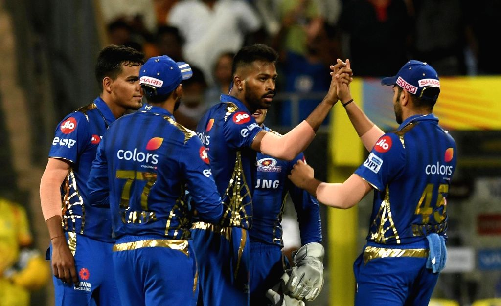 Mumbai: Mumbai Indians Hardik Pandya celebrates after winning the 15th IPL 2019 match against Chennai Super Kings at Wankhede Stadium in Mumbai, on April 3, 2019. (Photo: IANS)