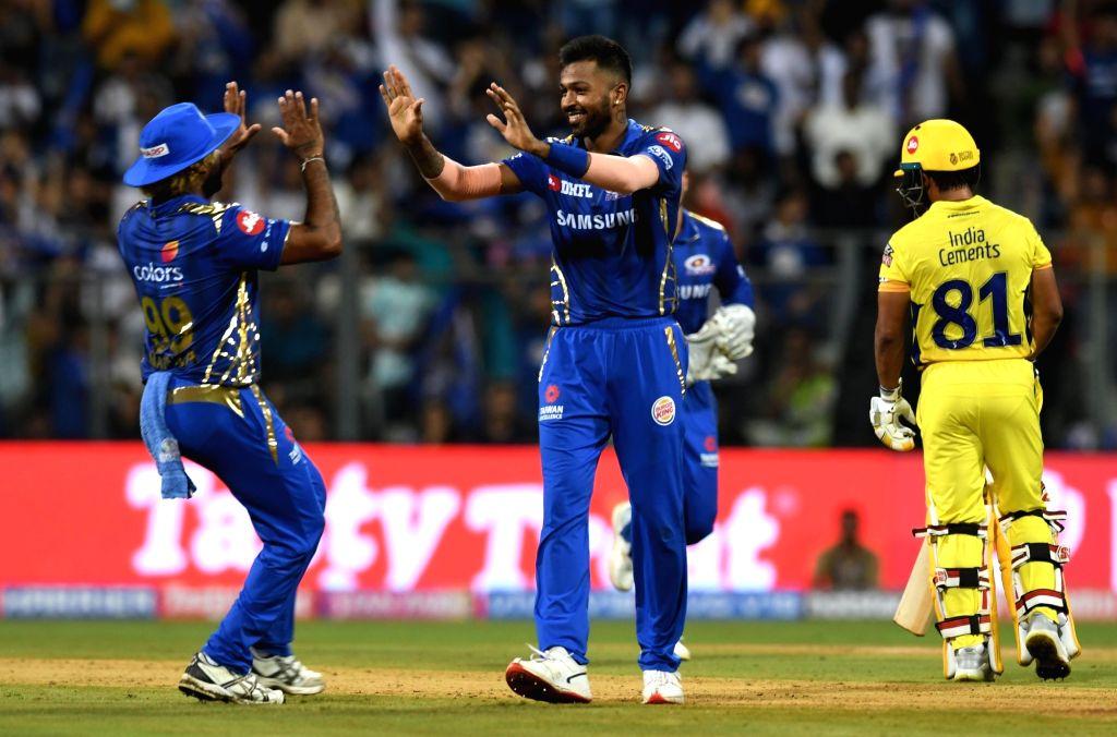 Mumbai: Mumbai Indians' Hardik Pandya celebrates fall of MS Dhoni's wicket during the 15th IPL 2019 match between Mumbai Indians and Chennai Super Kings at Wankhede Stadium in Mumbai, on April 3, 2019. (Photo: IANS)