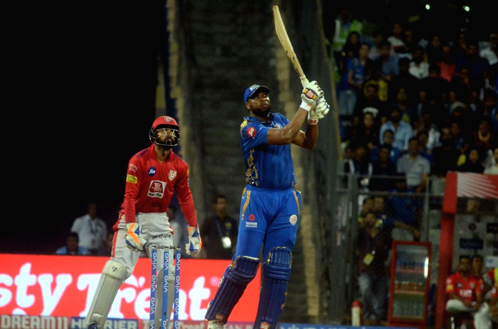 Mumbai: Mumbai Indians' Kieron Pollard in action during the 24th match of IPL 2019 between Mumbai Indians and Kings XI Punjab at Wankhede Stadium in Mumbai on April 10, 2019. (Photo: Sandeep Mahankal/IANS)
