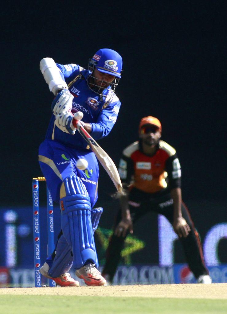 Mumbai Indians player Parthiv Patel in action during an IPL-2015 match between Mumbai Indians and Sunrisers Hyderabad at Wankhede Stadium, in Mumbai, on April 25, 2015. - Parthiv Patel