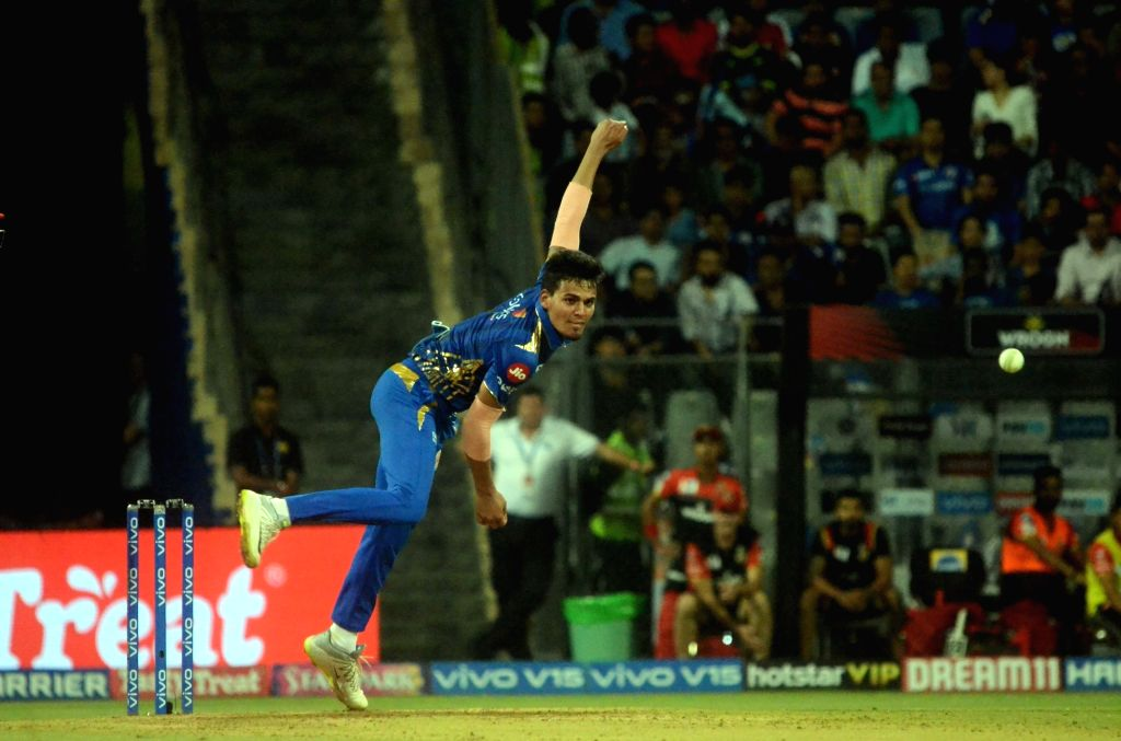 Mumbai: Mumbai Indians' Rahul Chahar in action during the 31st match of IPL 2019 between Royal Challengers Bangalore and Mumbai Indians at Wankhede Stadium in Mumbai on April 15, 2019. (Photo: Sandip Mahankal/IANS)