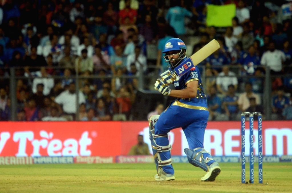 Mumbai: Mumbai Indians' skipper Rohit Sharma in action during the 56th match of IPL 2019 between Kolkata Knight Riders and Mumbai Indians at Wankhede Stadium in Mumbai, on May 5, 2019. (Photo: IANS) - Rohit Sharma