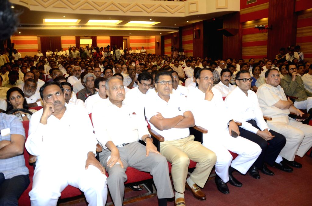 Mumbai: Leaders from various political parties during a condolence meet organised in the memory of NCP leader R R Patil who succumbed to cancer recently in Mumbai, on Feb 20, 2015.