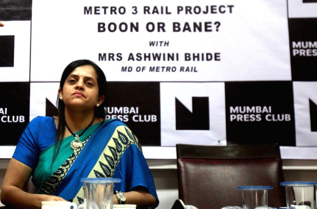 Mumbai Metro Rail Corporation Ltd. Managing Director, Ashwini Bhide addresses a press conference regarding Metro 3 Rail Project at press club in Mumbai on March 27, 2015.