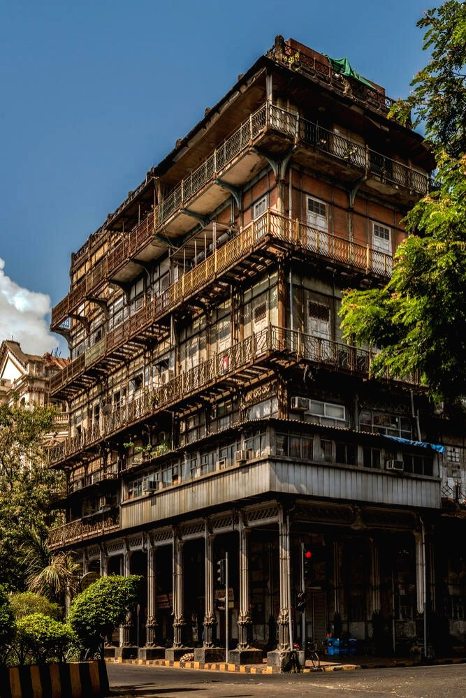 Mumbai: Mumbai's landmark 150-year old building, Esplanade Mansion that has been barricaded and a footpath beside it has also been cordoned off as it awaits a nod for redevelopment, on June 21, 2019. The building, figuring on the World Monuments Watc