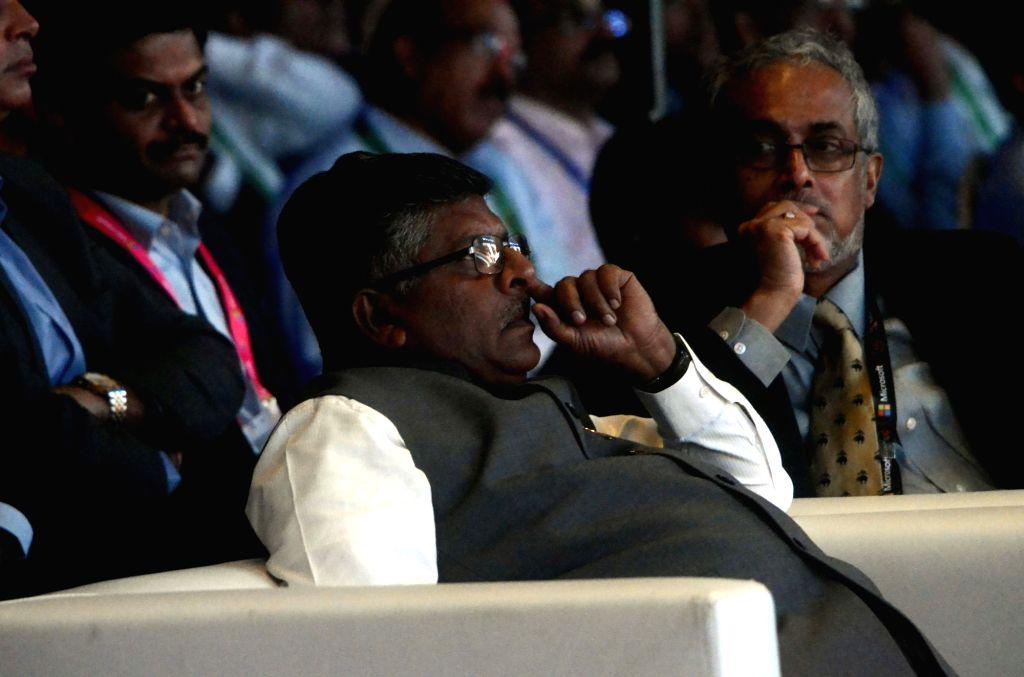 :Mumbai: Mumbai: Union Minister for Communications and Information Technology Ravi Shankar Prasad during the `Microsoft`s Future Unleashed' in Mumbai on Nov. 5, 2015. (Photo: IANS). - Ravi Shankar Prasad