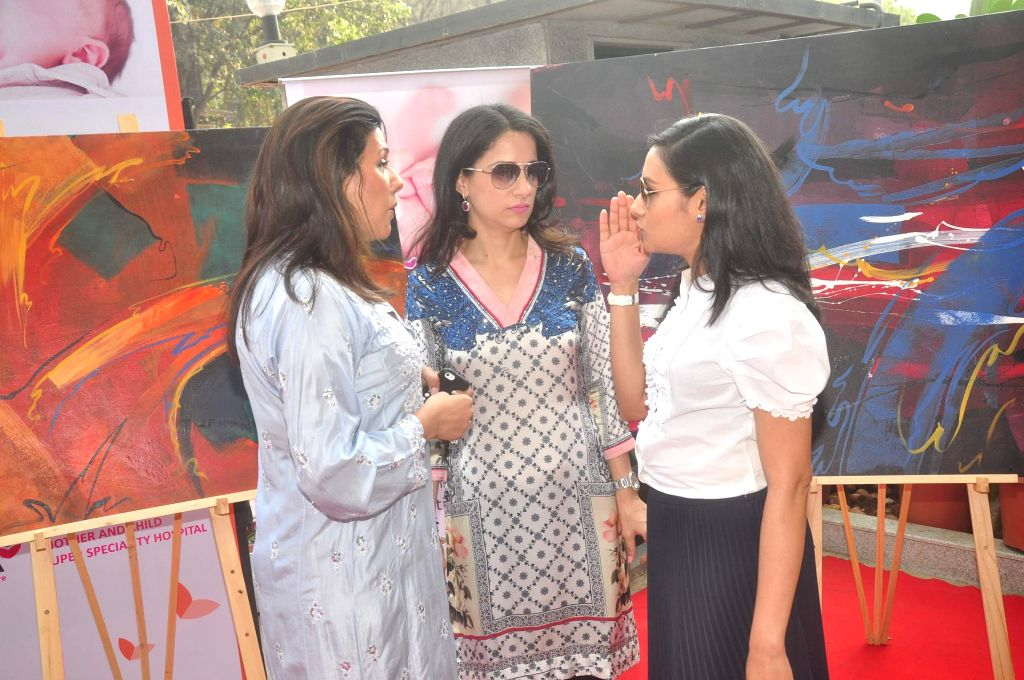 Muralist and Social Worker Rouble Nagi during the unveils of sculpture made by her at Surya Hospital in Mumbai, on Jan. 19, 2015.