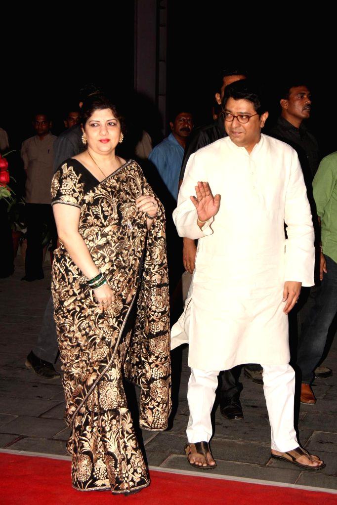 Navnirman Sena (MNS) chief Raj Thackeray along with his wife Sharmila Thackeray during Shatrugan Sinha's son Kush wedding reception in Mumbai, on Jan. 19, 2015. - Shatrugan Sinha