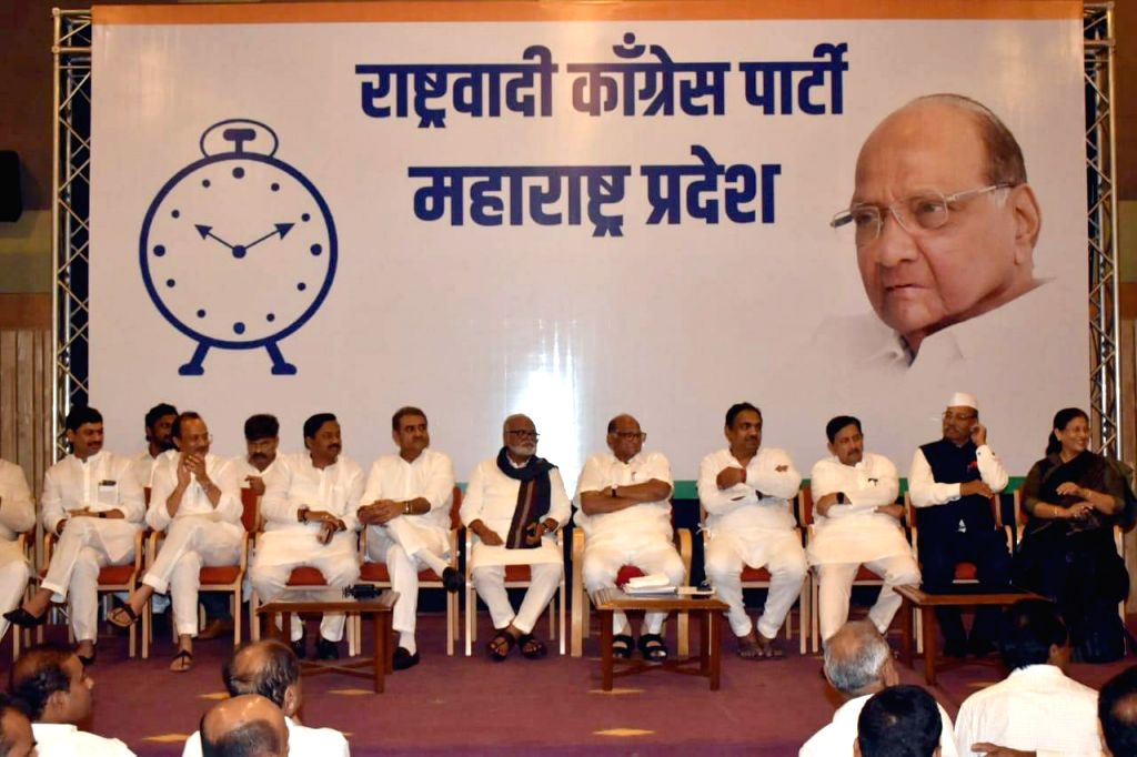 Mumbai: NCP Chief Sharad Pawar and party leaders Ajit Pawar, Chhagan Bhujbal and other leaders during a party meeting of senior leaders and legislators to discuss the government formation issue in Maharashtra; in Mumbai on Nov 12, 2019. (Photo: IANS)