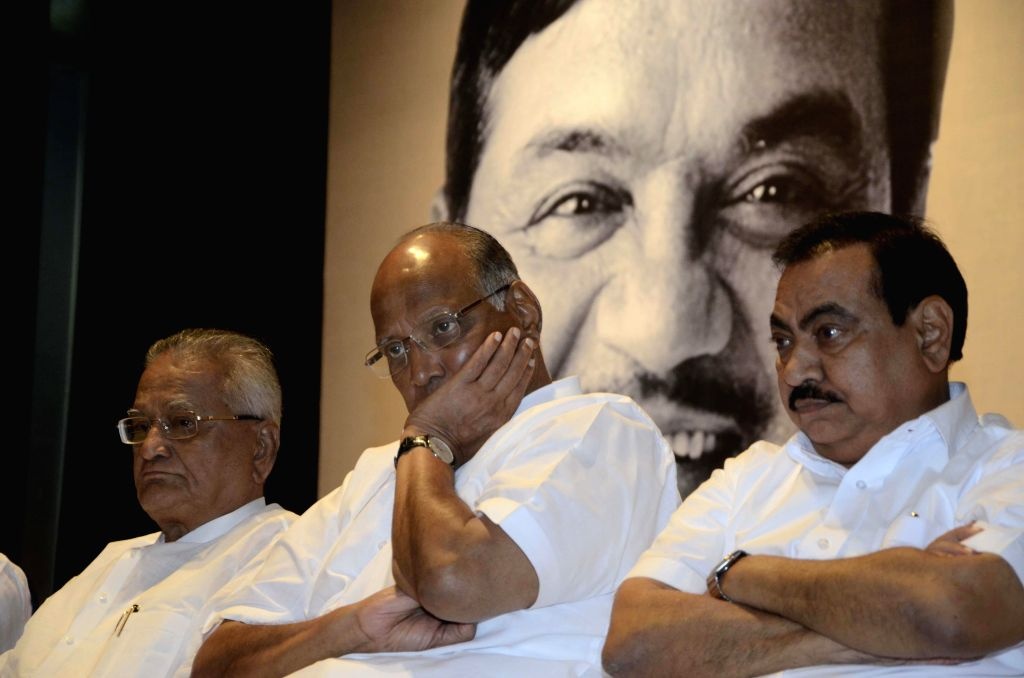 NCP chief Sharad Pawar during a condolence meet organised in the memory of NCP leader R R Patil who succumbed to cancer recently in Mumbai, on Feb 20, 2015.