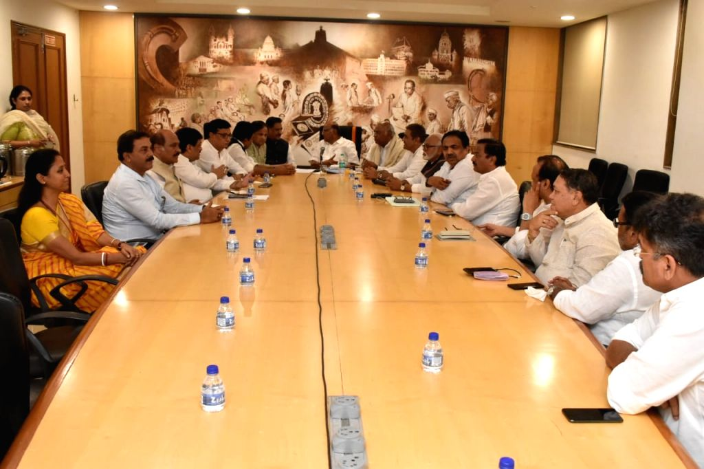 Mumbai: NCP chief Sharad Pawar, party leaders Ajit Pawar, Supriya Sule, Chhagan Bhujbal, Prithviraj Chavan and Congress leaders Mallikarjun Kharge, KC Venugopal and Ahmed Patel during a joint party meeting to discuss issues related to government form - Ahmed Patel