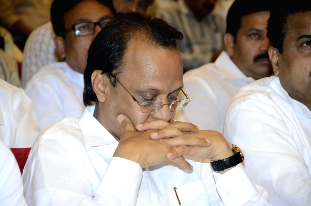 NCP leader Ajit Pawar during a condolence meet organised in the memory of NCP leader R R Patil who succumbed to cancer recently in Mumbai, on Feb 20, 2015.