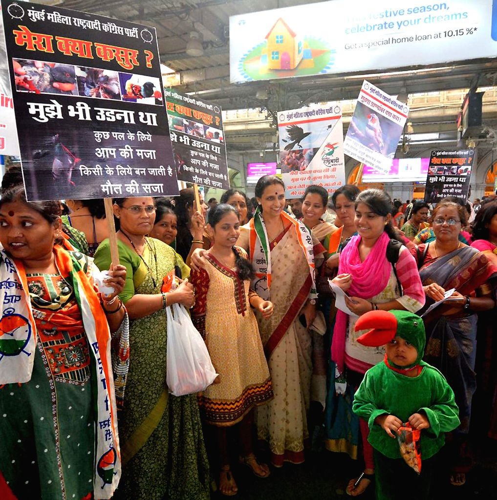 NCP leader Chitra Wagh during `Save Bird Campaign` organised at CST in Mumbai on Jan 14, 2015.