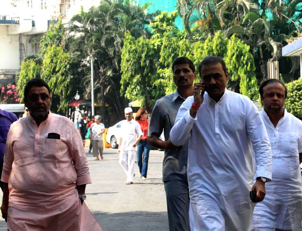 NCP leader Praful Patel arrives to visit party chief Sharad Pawar who is admitted in Breach Candy Hospital, in Mumbai on Dec 3, 2014.Pawar fractured his leg after falling at his New Delhi ... - Praful Patel