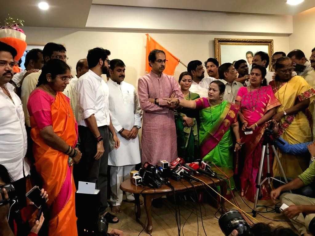 Mumbai NCP President Sachin Ahir joins Shiv Sena in the presence of party chief Uddhav Thackeray and his son Aditya Thackeray, at Bandra in Mumbai on July 25, 2019.