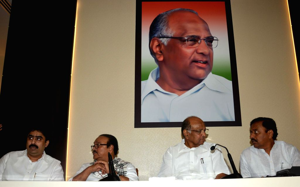 NCP president Sharad Pawar during a state party leaders meeting at Party headquarter in Mumbai on Feb. 3, 2015. Also seen NCP leaders Sanjay Patil, Chagan Bhujbal, Sunil Tatkare. - Sanjay Patil