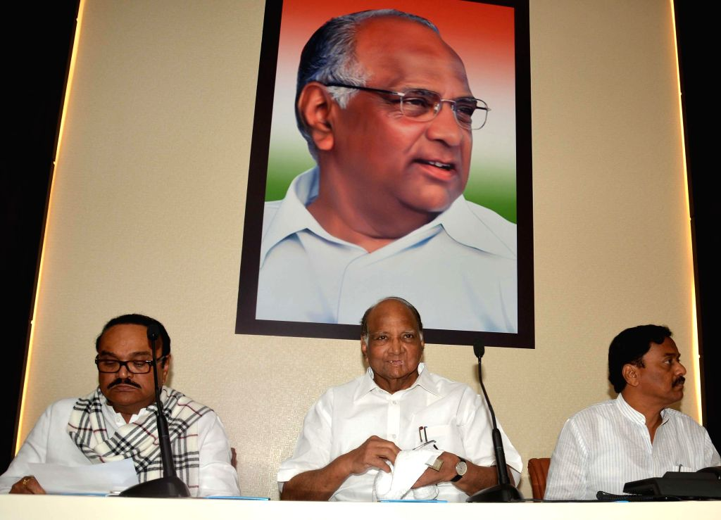 NCP president Sharad Pawar during a state party leaders meeting at Party headquarter in Mumbai on Feb. 3, 2015. Also seen NCP leaders Chagan Bhujbal and Sunil Tatkare.