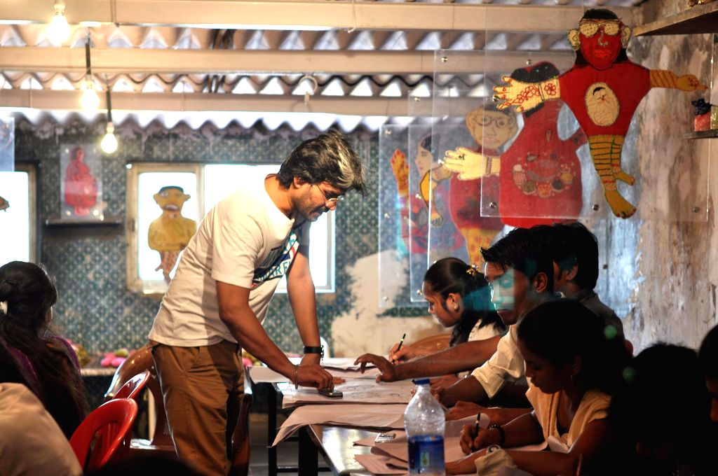 Participants of Alley Galli Biennale in Mumbai, on Feb 12, 2015.