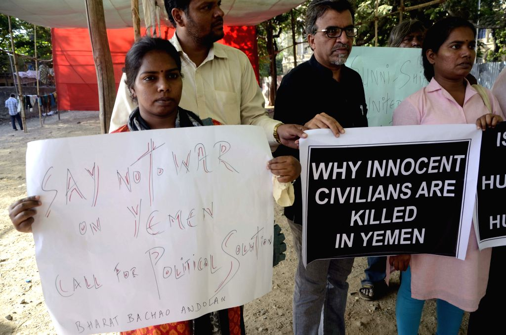 People stage a demonstration against the ongoing violence in Yemen, at Azad Maidan in Mumbai, on April 6, 2015.