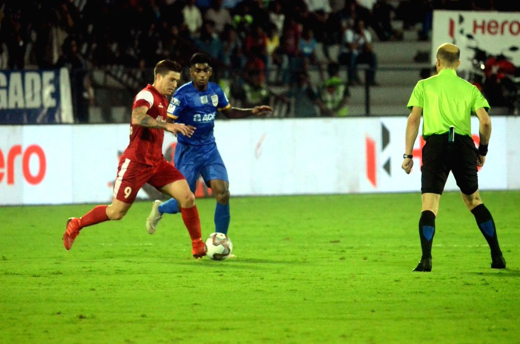 Mumbai: Players in action during an ISL 2018-19 match between Mumbai City FC and NorthEast United FC at Mumbai Football Arena on Feb 13, 2019. (Photo: IANS)