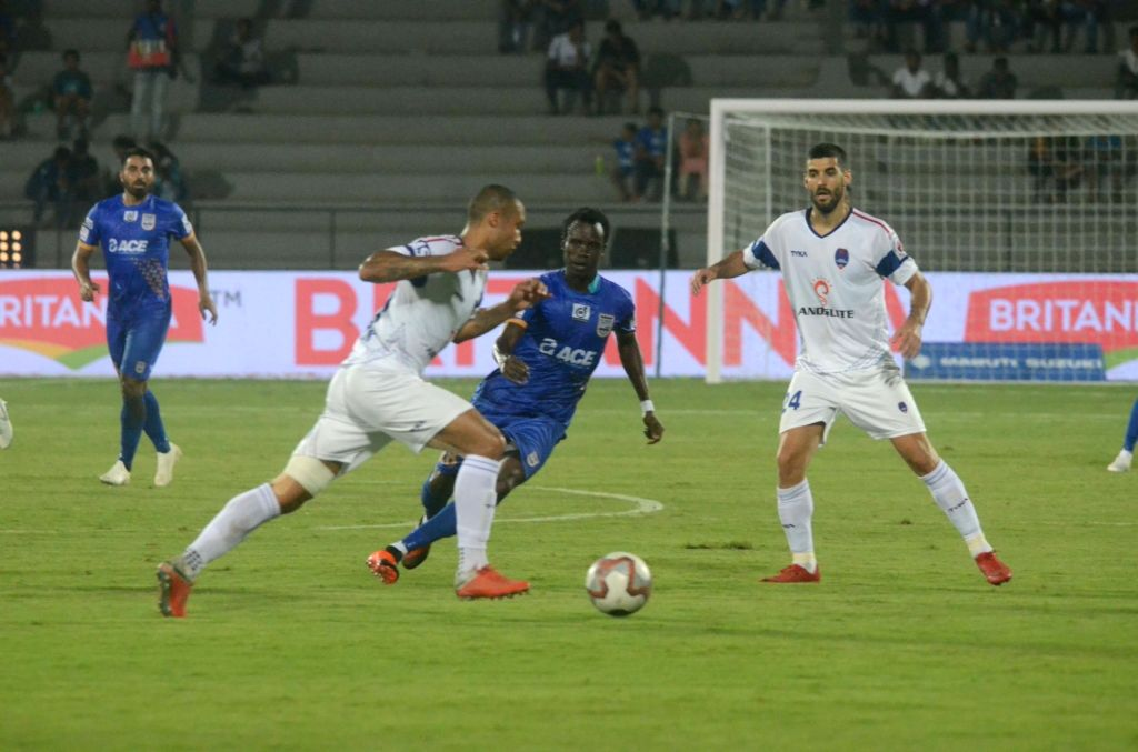 : Mumbai: Players in action during an ISL 2018 match between Delhi Dynamos FC and Mumbai City FC in Mumbai on Oct 27, 2018. (Photo: IANS).