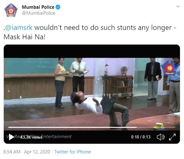 Mumbai Police shares 'Main Hoon Na' scene amid COVID-19 times.