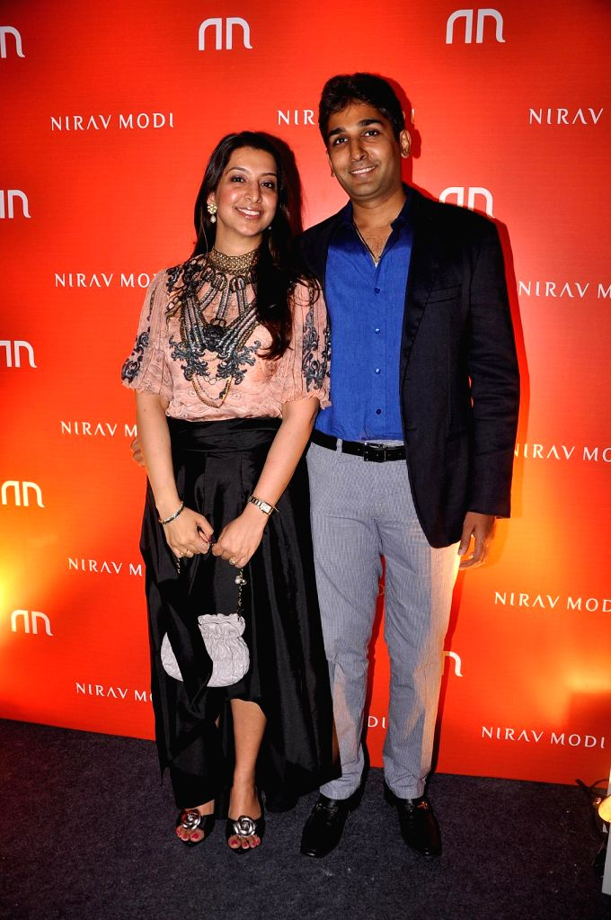 Pooja and Lalit Choudhary during the inauguration of Nirav Modi Jewellry shop in Mumbai on March 14, 2015. - Lalit Choudhary