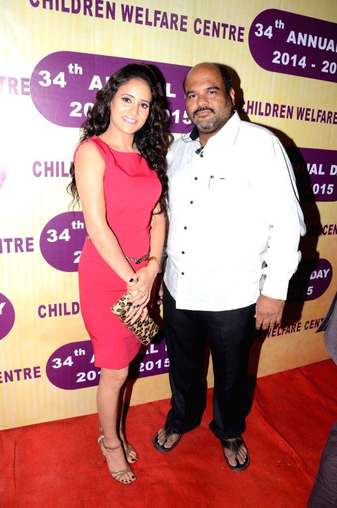 Prashant Kashid with designer Shweta Khanduri during the 34th annual day celebration of Children`s Welfare Centre High School in Mumbai, on Feb 15, 2015.