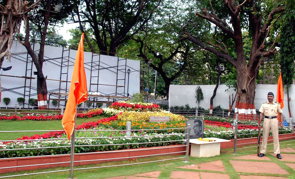 Preparations for Shiv Sena founder Bal Thackeray's second death anniversary underway at his memorial in Mumbai on Nov 16, 2014.