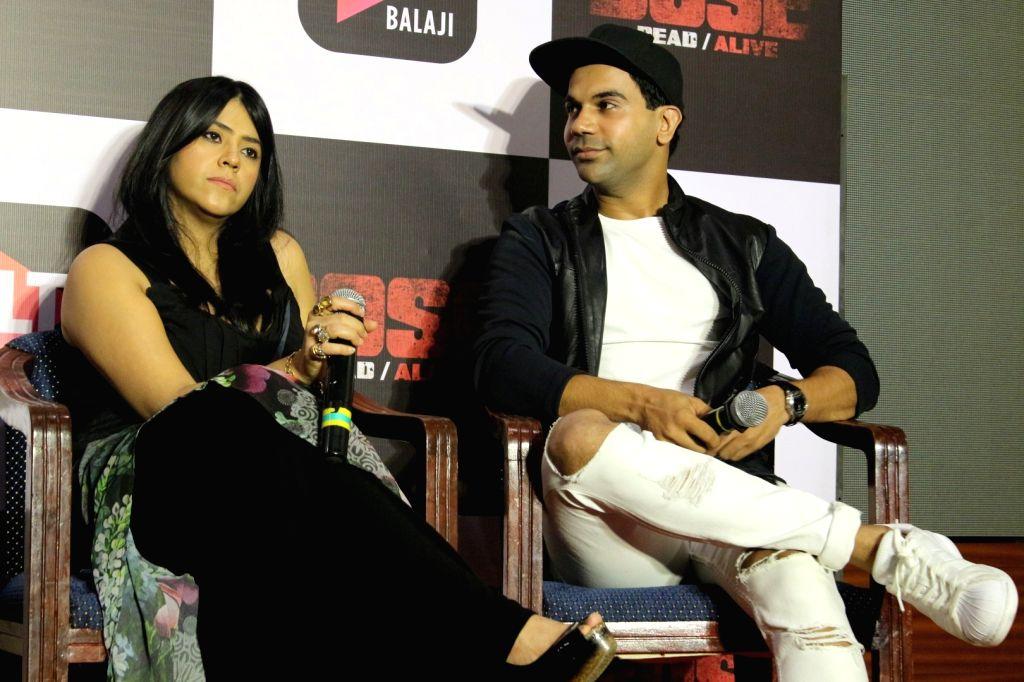 "Mumbai: Producer Ekta Kapoor and Actor Rajkummar Rao during the trailer launch of upcoming web-series ""Bose: Dead/Alive"" in Mumbai on Aug 18, 2017. - Rajkummar Rao and Ekta Kapoor"