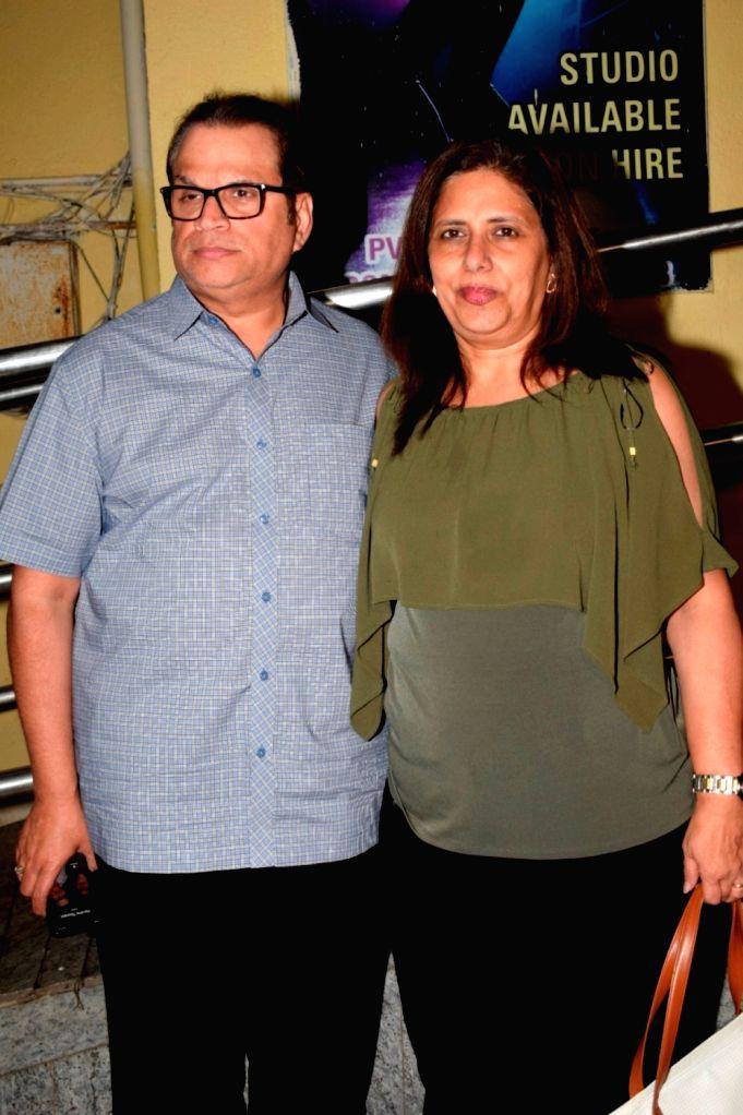 ":Mumbai: Producer Ramesh Taurani alogn with his wife Varsha Taurani at the special screening of film ""Badhaai Ho"" in Mumbai on Oct 17, 2018. (Photo: IANS)."