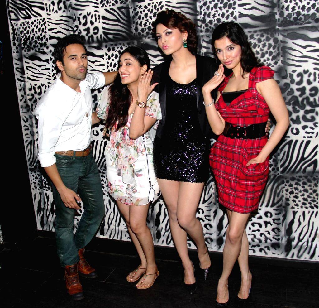 Pulkit Samrat, Yami Gautam, Urvashi Rautela and Divya Khosla Kumar at Divya Khosla Kumar`s birthday bash in Mumbai, on November 20, 2014.