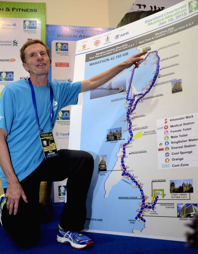 Race Director and former British long distance runner Hugh Jones at the launch of Standard Chartered Mumbai Marathon 2015 route map in Mumbai on Jan 14, 2015. Marathon will be held on 18th ...