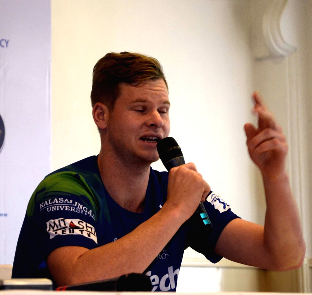 Rajasthan Royal Challengers (RRC) player Steve Smith during a press conference in Mumbai on April 6, 2015.