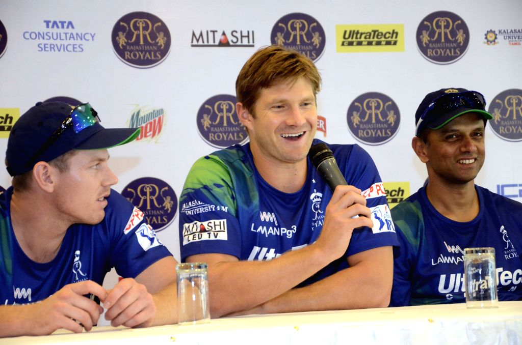Rajasthan Royal Challengers (RRC) players James Faulkner and Shane Watson during a press conference in Mumbai on April 6, 2015.