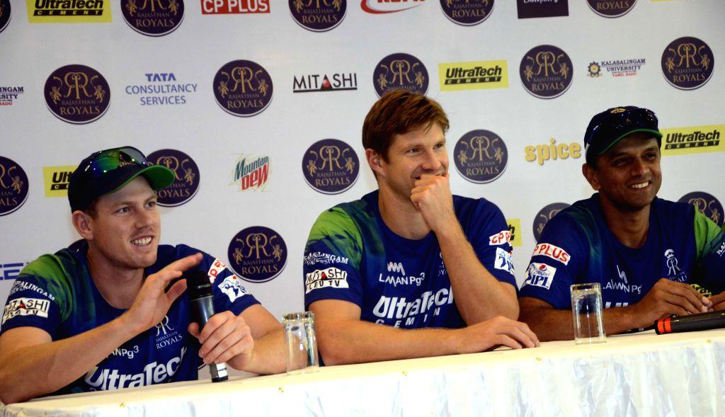 Rajasthan Royal Challengers (RRC) players James Faulkner, Shane Watson with RRC mentor Rahul Dravid during press conference in Mumbai on April 6, 2015. - Rahul Dravid