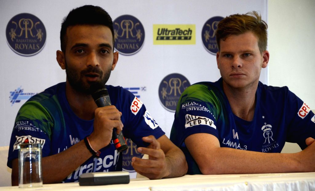 Rajasthan Royal Challengers (RRC) players Ajinkya Rahane and Steve Smith during  press conference in Mumbai on April 6, 2015.