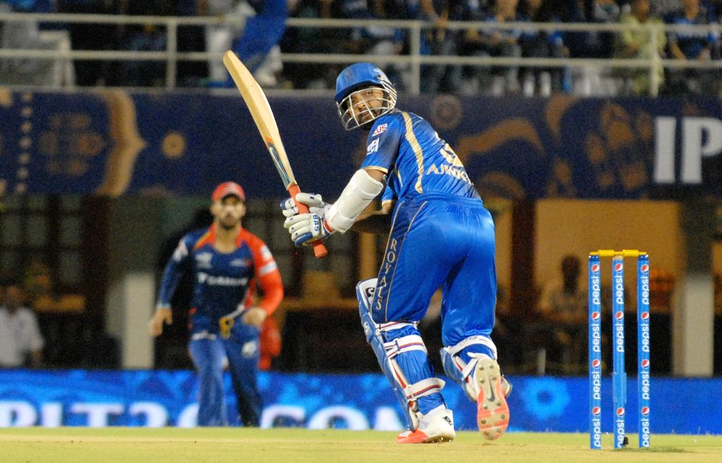 Rajasthan Royals batsman Ajinkya Rahane  in action during an IPL-2015 match between Rajasthan Royals  and Delhi Daredevils at the Brabourne Stadium in Mumbai, on May 3, 2015. - Ajinkya Rahane