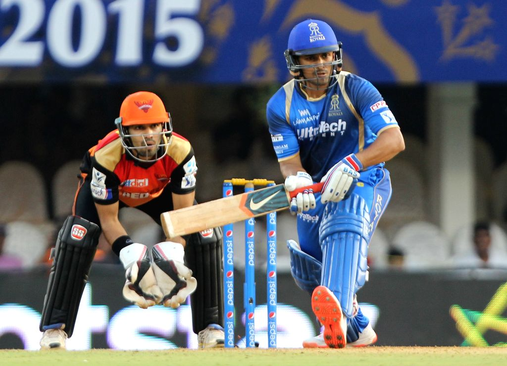 Rajasthan Royals batsman Karun Nair in action during an IPL 2015 match between Rajasthan Royals and Sunrisers Hyderabad at the Brabourne Stadium in Mumbai on May 7, 2015. - Karun Nair