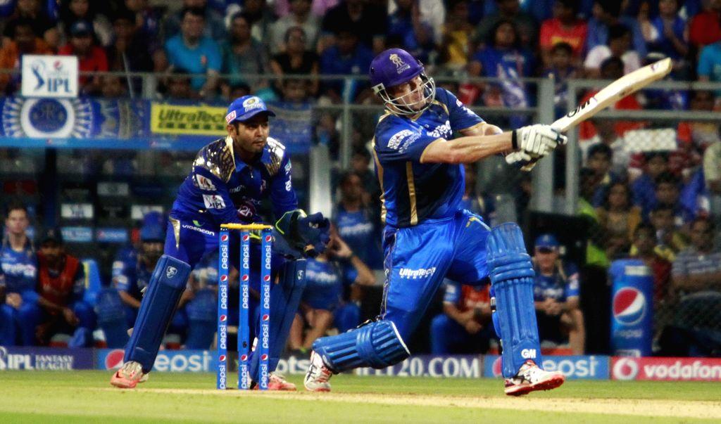 Rajasthan Royals batsman Shane Watson gets bowled during an IPL 2015 match between Rajasthan Royals and Mumbai Indians at the Wankhede Stadium in Mumbai, on May 1, 2015. - Shane Watson