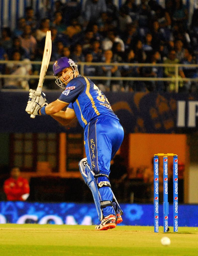 Rajasthan Royals batsman Shane Watson in action during an IPL-2015 match between Rajasthan Royals  and Delhi Daredevils at the Brabourne Stadium in Mumbai, on May 3, 2015. - Shane Watson