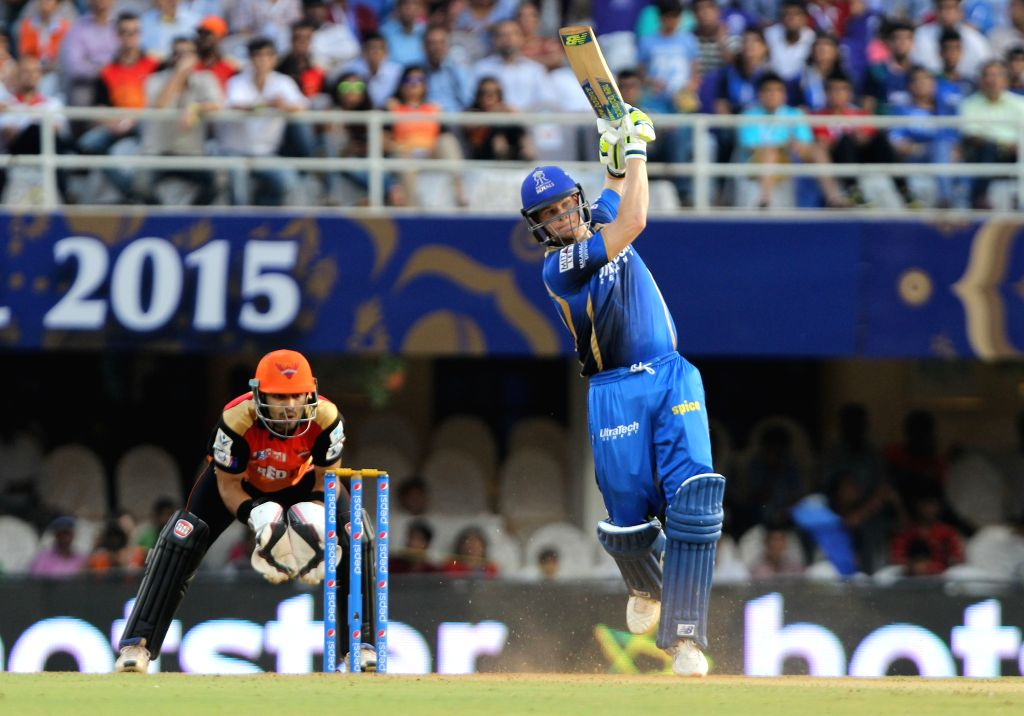 Rajasthan Royals batsman Steve Smith in action during an IPL 2015 match between Rajasthan Royals and Sunrisers Hyderabad at the Brabourne Stadium in Mumbai on May 7, 2015. - Steve Smith
