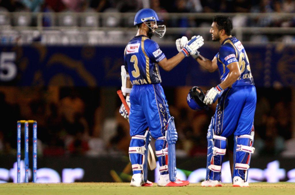Rajasthan Royals batsmen Ajinkya Rahane and Karun Nair during an IPL-2015 match between Rajasthan Royals  and Delhi Daredevils at the Brabourne Stadium in Mumbai, on May 3, 2015.