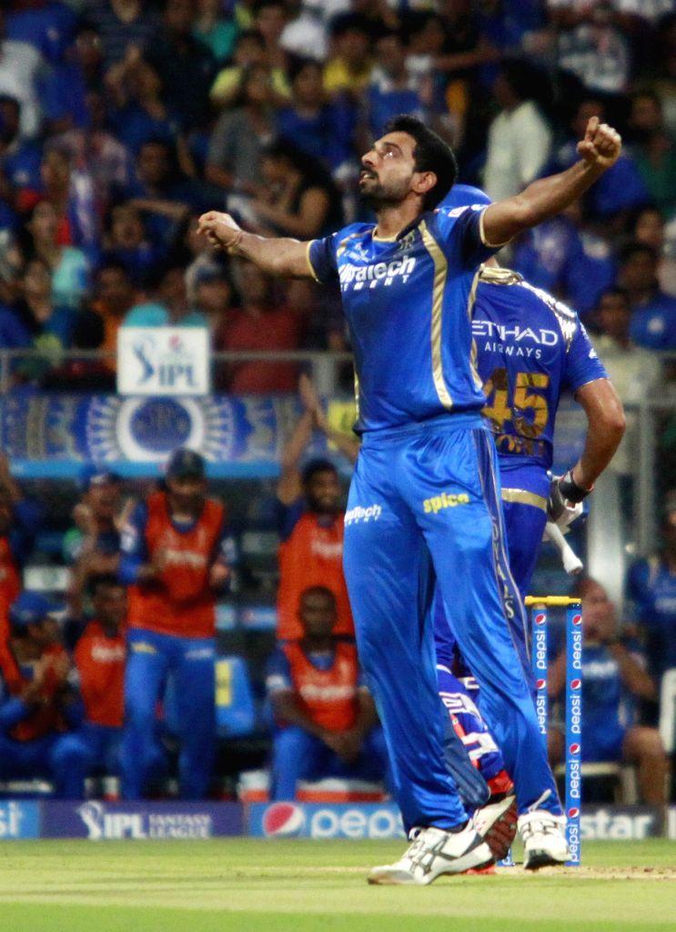 Rajasthan Royals bowler Dhawal Kulkarni celebrates fall of a wicket during an IPL 2015 match between Rajasthan Royals and Mumbai Indians at the Wankhede Stadium in Mumbai, on May 1, 2015. - Dhawal Kulkarni