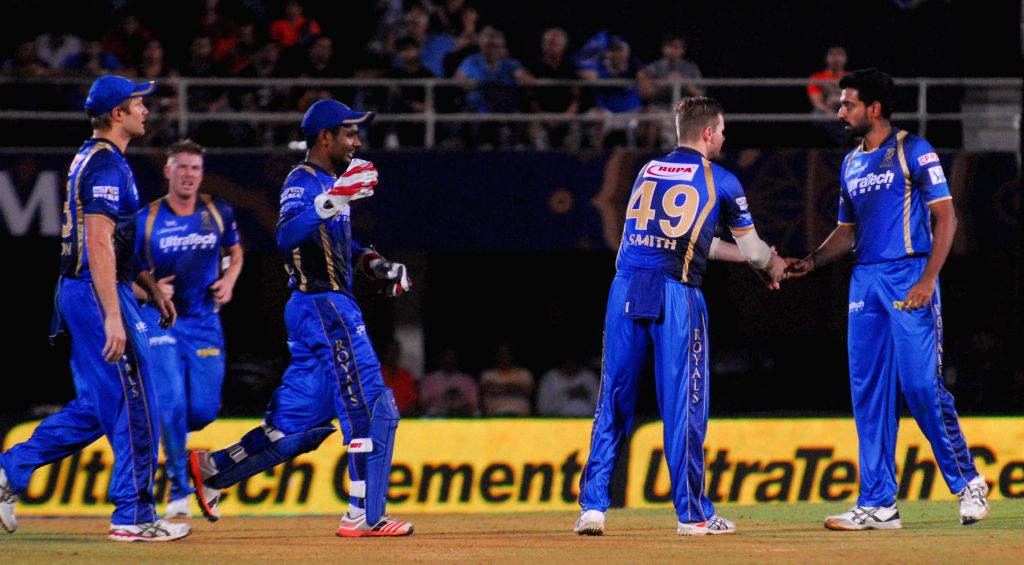Rajasthan Royals celebrate fall of a wicket during an IPL-2015 match between Rajasthan Royals  and Delhi Daredevils at the Brabourne Stadium in Mumbai, on May 3, 2015.