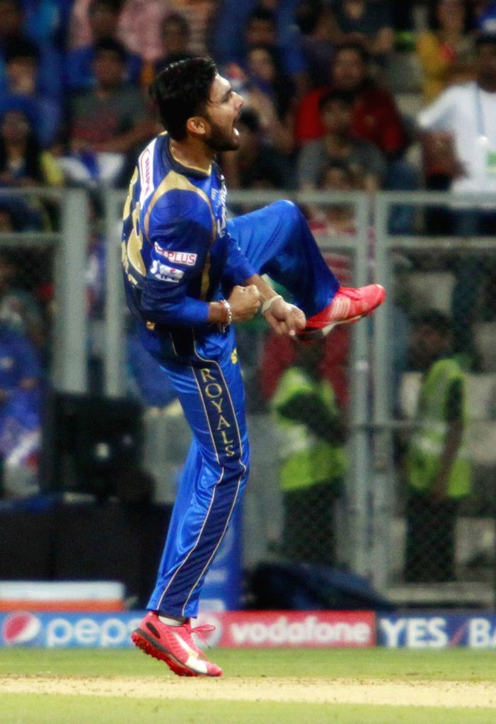 Rajasthan Royals player Ankit Sharma celebrates fall of a wicket  during an IPL 2015 match between Rajasthan Royals and Mumbai Indians at the Wankhede Stadium in Mumbai, on May 1, 2015. - Ankit Sharma