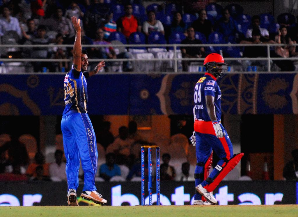 Rajasthan Royals player Stuart Binny celebrates fall of a wicket during an IPL-2015 match between Rajasthan Royals  and Delhi Daredevils at the Brabourne Stadium in Mumbai, on May 3, 2015.