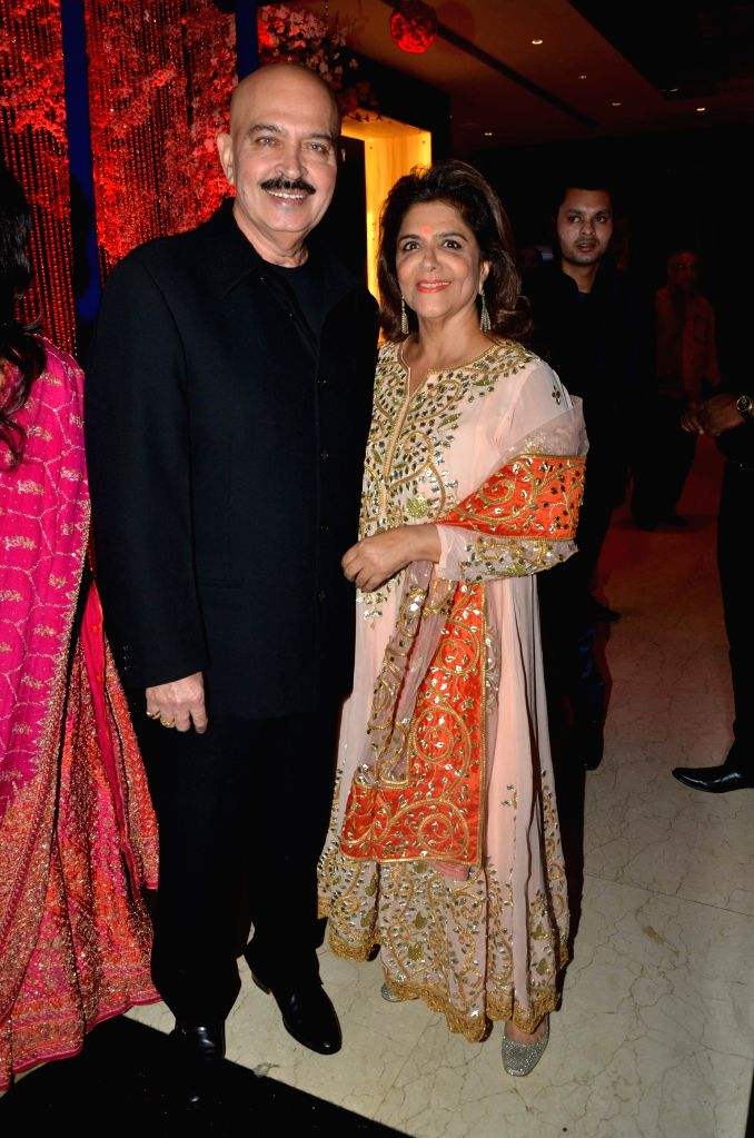 Rakesh Roshan and Pinky Roshan during Karan Patel and Ankita Bhargava`s engagement and sangeet ceremony at the Novotel Hotel in Juhu, Mumbai on 1st May, 2015. - Rakesh Roshan